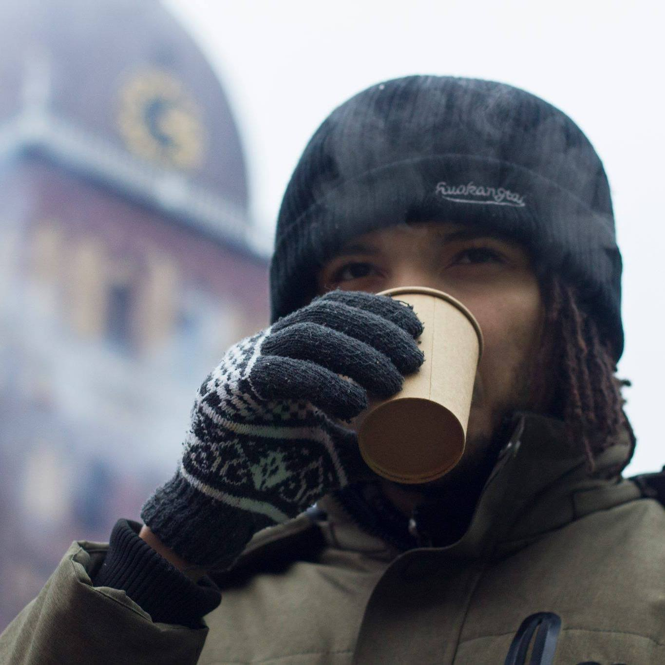 Drinking hot wine in Riga, Latvia.